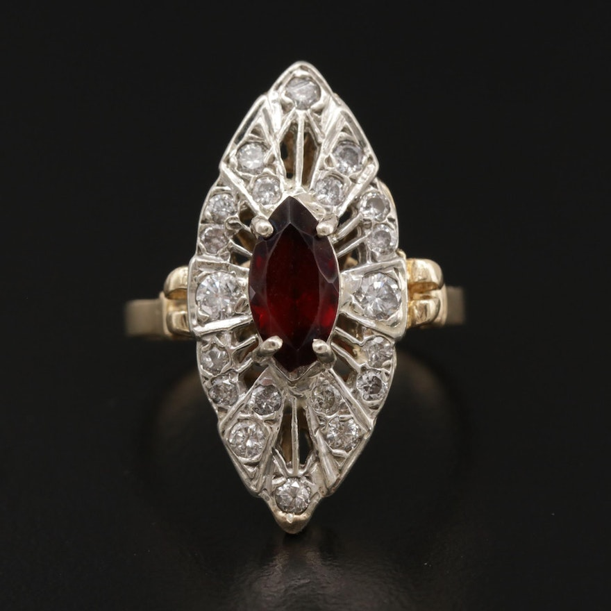 Vintage 14K Yellow and White Gold Garnet and Diamond Navette Ring