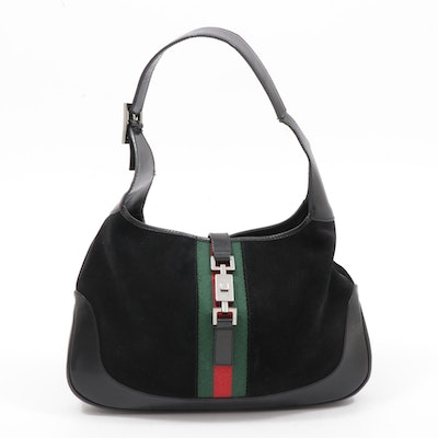 Gucci Black Suede and Leather Web Stripe Jackie Shoulder Bag