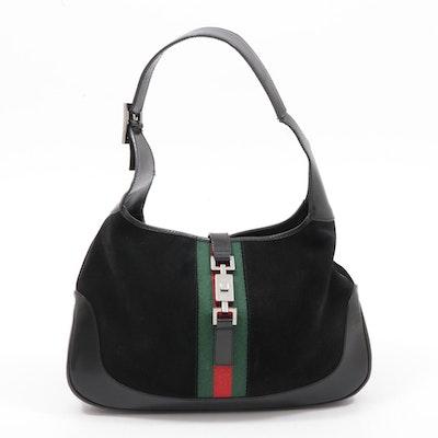 Gucci Black Suede and Leather Web Stripe Jackie Shoulder Bag