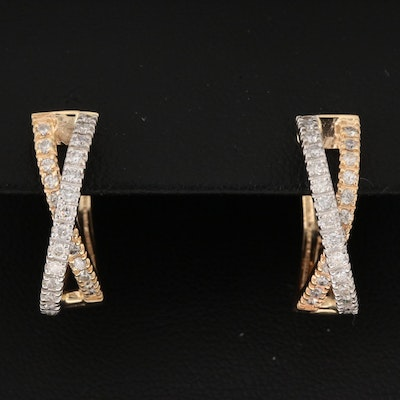 14K Yellow and White Gold Diamond Criss-Cross Hoop Earrings