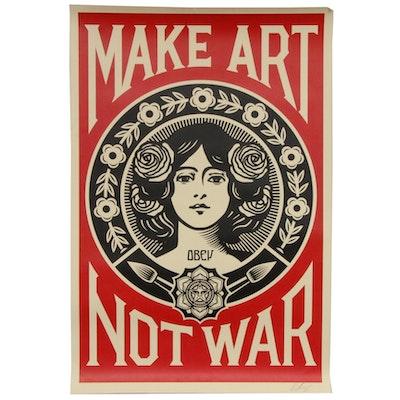 """Shepard Fairey Offset Poster """"Make Art Not War,"""" 2018"""