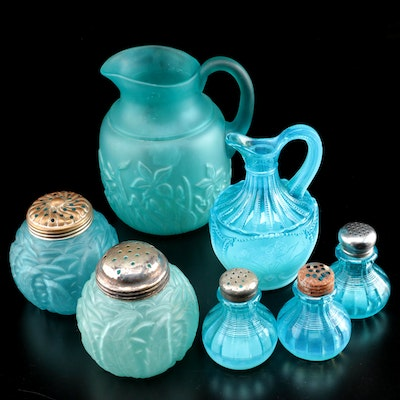Northwood and Other Blue Glass Assorted Patterns Tableware