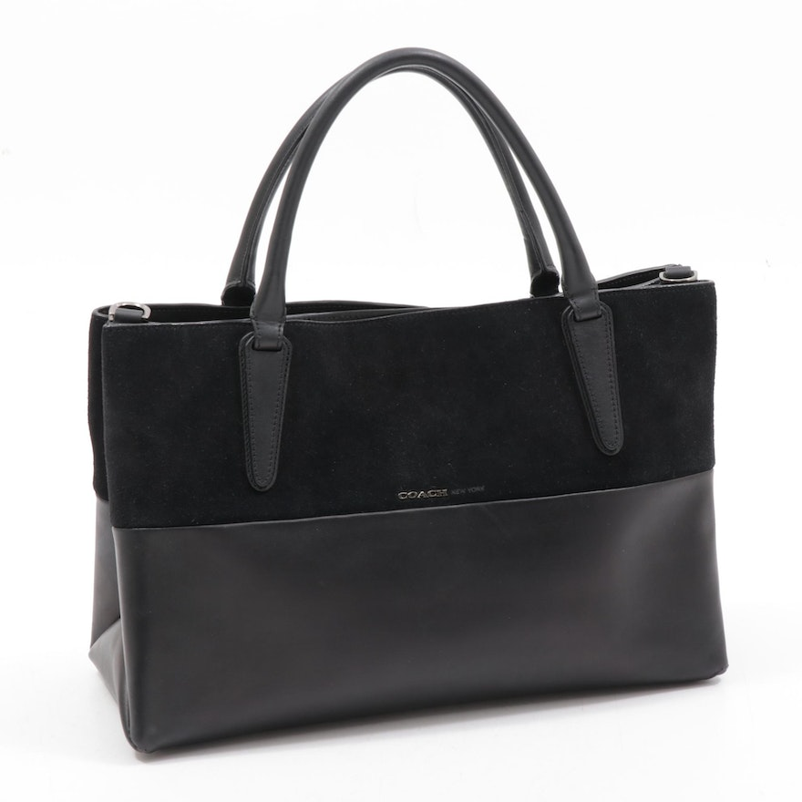 Coach New York Black Leather and Suede Borough Bag