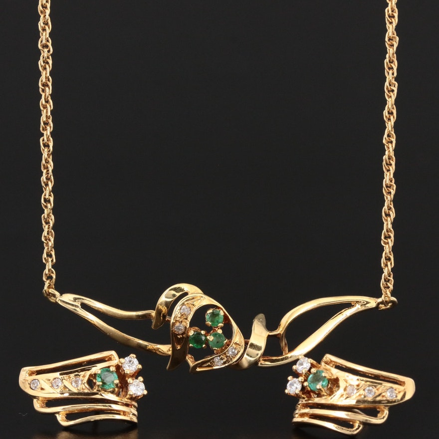 18K Yellow Gold Emerald and Cubic Zirconia Earrings and Necklace Set