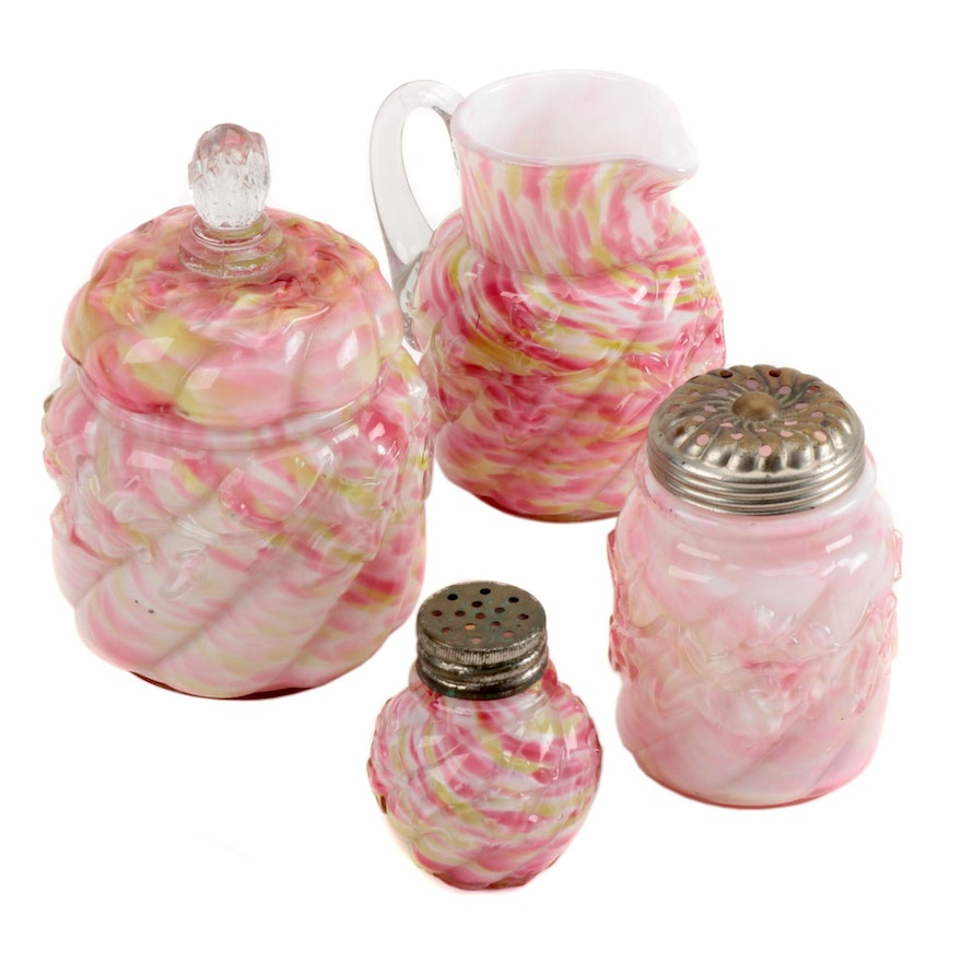 """Northwood """"Royal Ivy"""" Cased Glass Creamer, Sugar, and Shakers, Late 19th Century"""