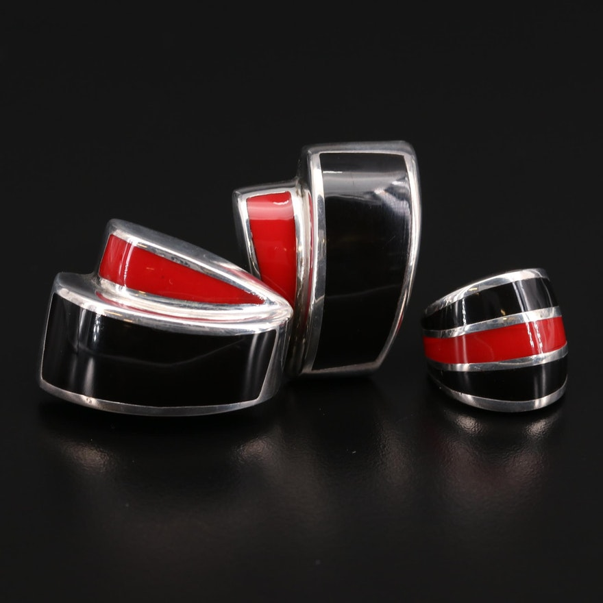 Sterling Silver Black and Red Inlay Earrings and Ring