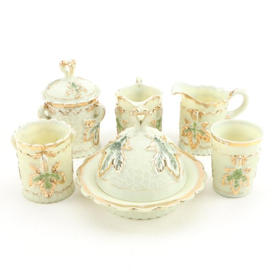 """Northwood """"Maple Leaf"""" Custard Glass Table Accessories, Early 20th Century"""
