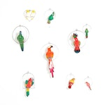 Mexican Folk Art Style Hand-Painted Hanging Birds