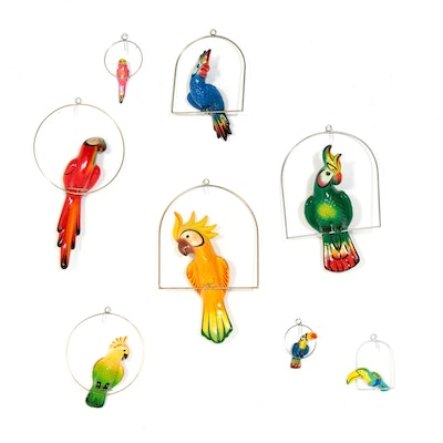 Hanging Ceramic Tropical Bird Figurines, Signed