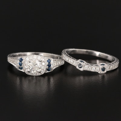14K White Gold Diamond and Sapphire Ring Set