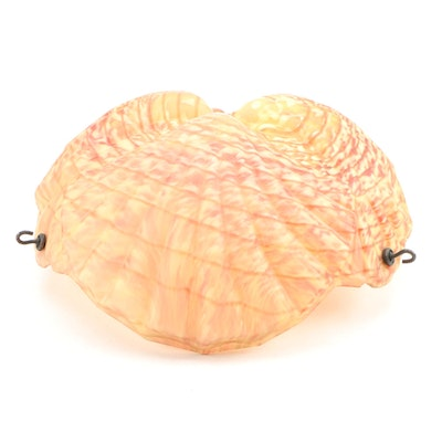 American Satin Vaseline and Cranberry Spatter Pressed Glass Shell Pendant Shade