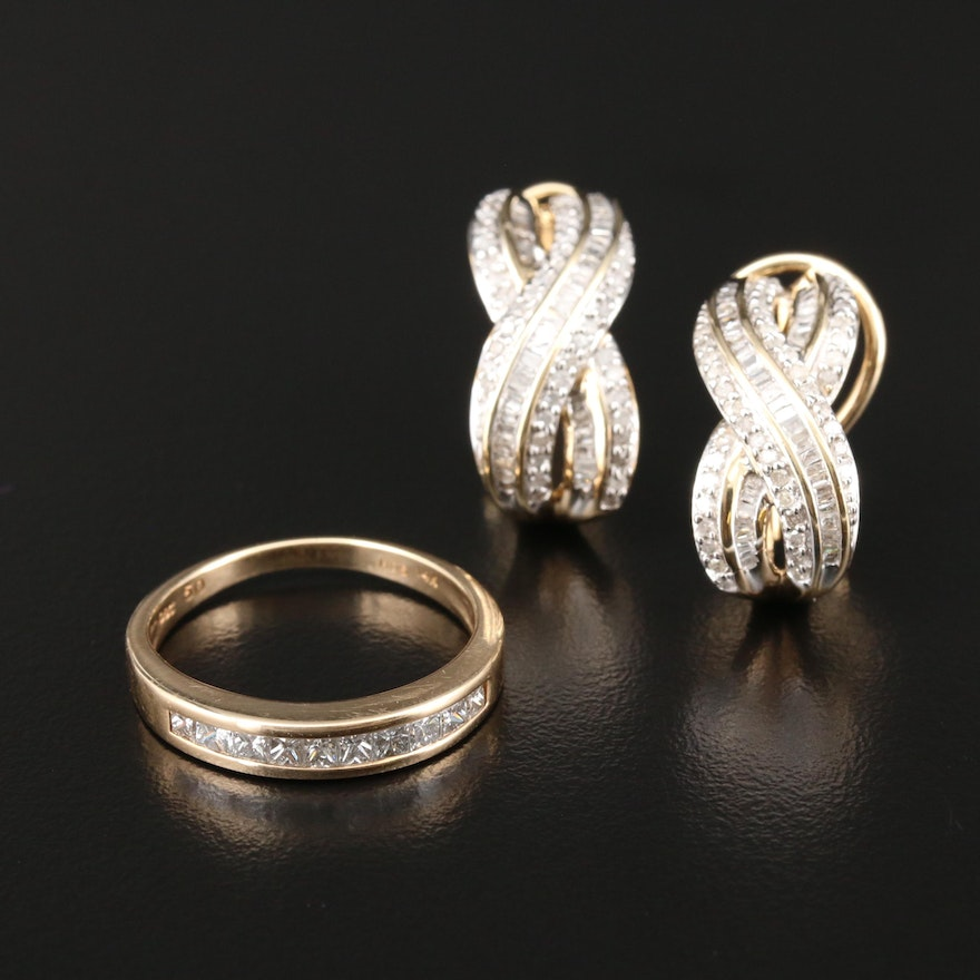 14K Yellow Gold Diamond Ring with 10K Yellow Gold Diamond Earrings