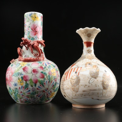 Chinese Porcelain Hand-Painted Floral and Scenic Motif Vases