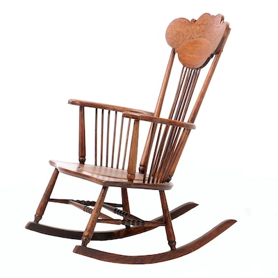 Colonial-Revival Oak Rocking Chair, Early 20th Century