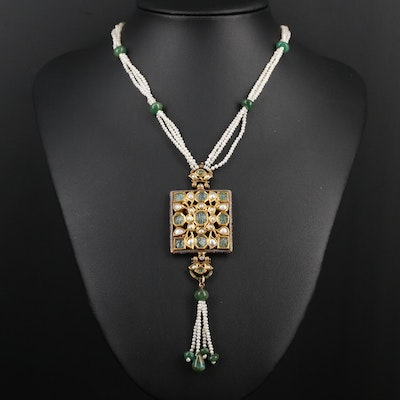 Mughal Style Emerald, Pearl and Enamel Kundan Pendant Necklace
