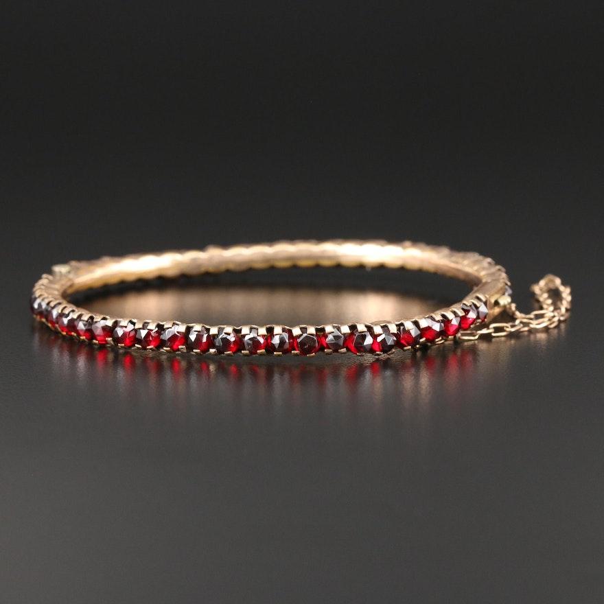 Antique Garnet Hinged Bangle Bracelet
