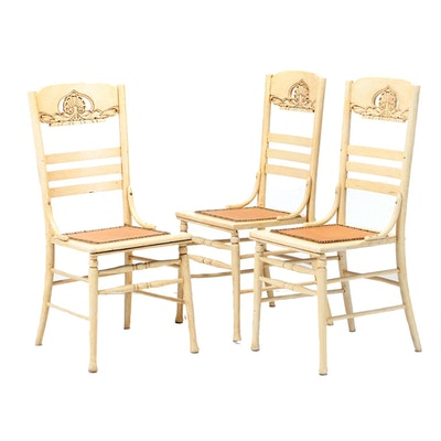 Three Painted Oak Pressed-Back Dining Chairs, Early 20th Century