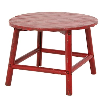 Primitive Style Red-Painted Wood Dining Table