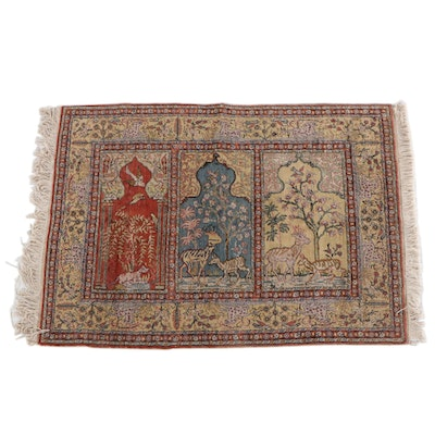 4'1 x 6'2 Hand-Knotted Persian Wool Prayer Rug