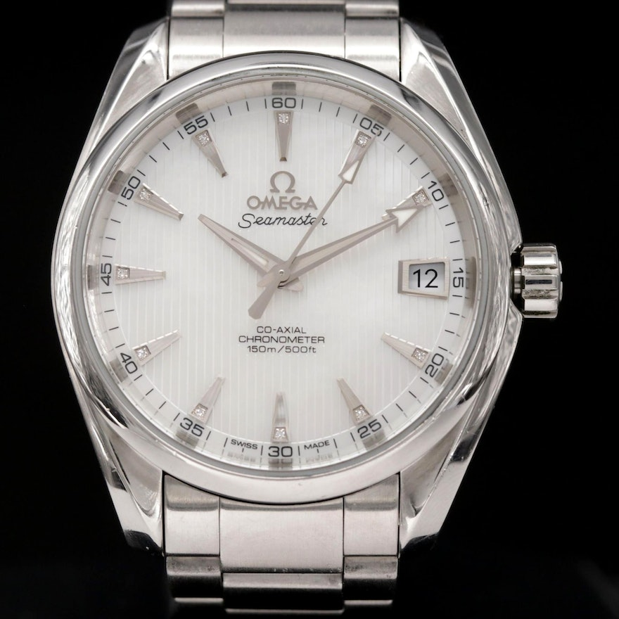 Omega Seamaster Aqua Terra Diamond Dial Stainless Steel Wristwatch