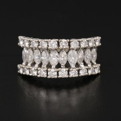 Vintage 14K White Gold 2.10 CTW Diamond Triple Row Band