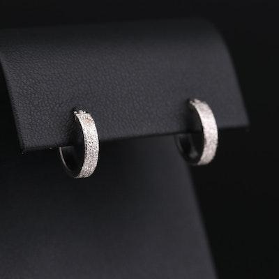 14K White Gold Textured Huggie Earrings