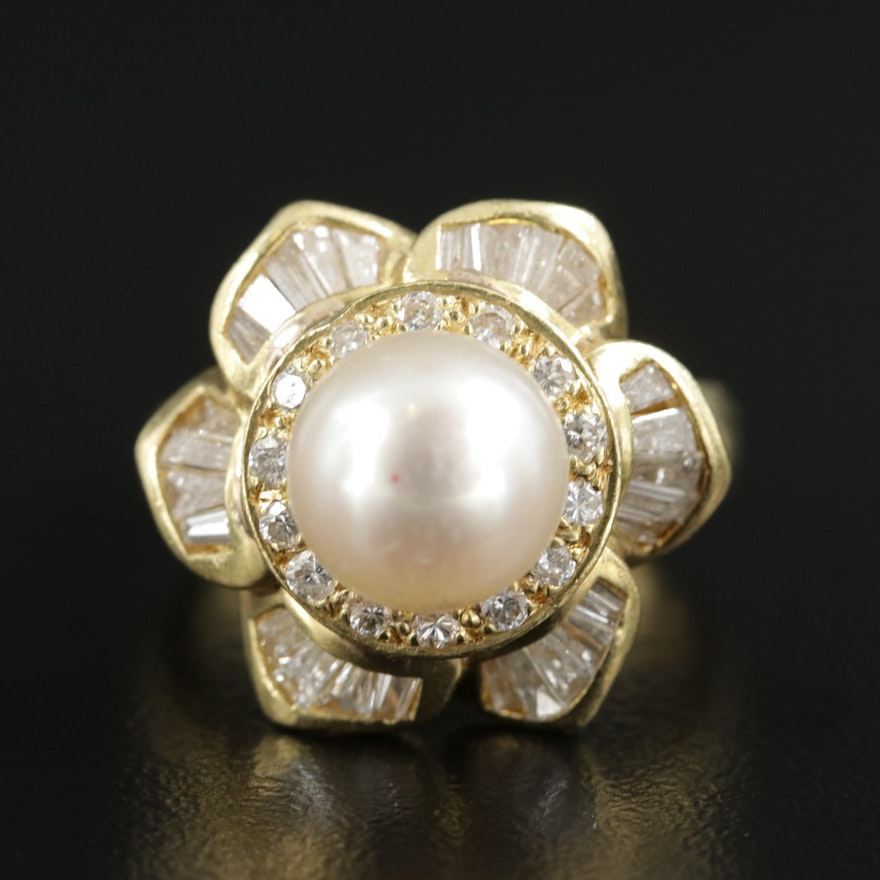 18K Yellow Gold Pearl and 1.25 CTW Diamond Ring