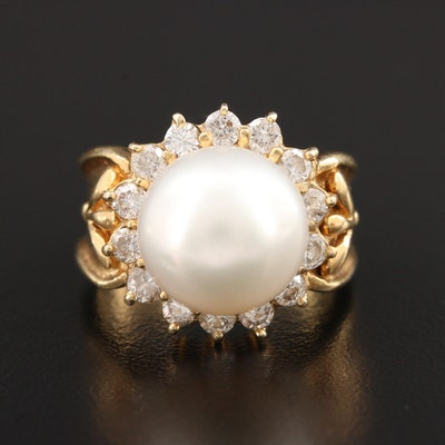 18K Yellow Gold Cultured Pearl and 1.12 CTW Diamond Ring