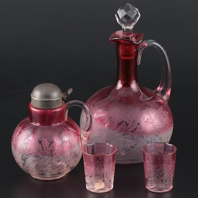 American Etched Optic Rubina Glass Decanter, Syrup, and Shot Glasses