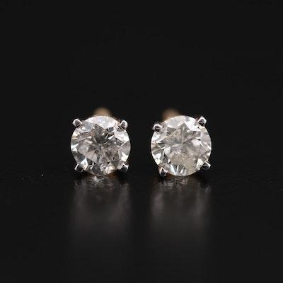 14K Yellow Gold 0.78 CTW Diamond Stud Earrings