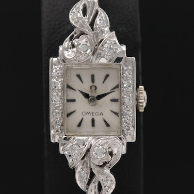 Omega 14K Gold Diamond Stem Wind Wristwatch