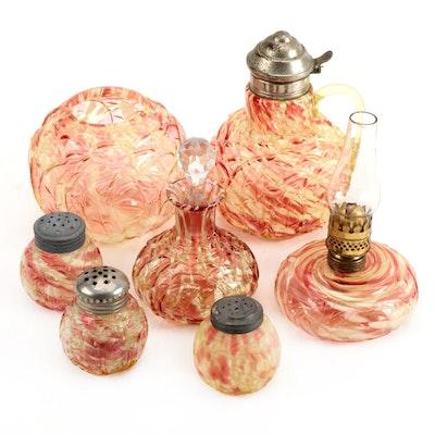 """Northwood """"Leaf Mold"""" Vaseline Glass Tableware, Oil Lamp, and Perfume Bottle"""