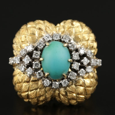 18K Yellow Gold Turquoise and Diamond Ring with Textured Dome