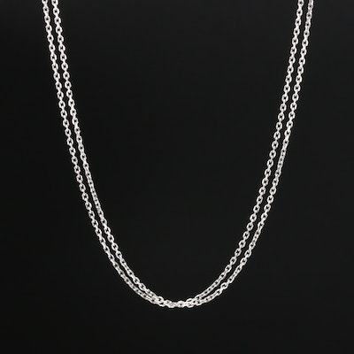 14K White Gold Cable Link Double Chain Necklace