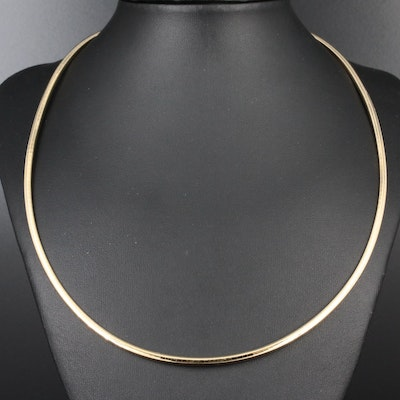14K Yellow Gold Omega Link Necklace with Extender