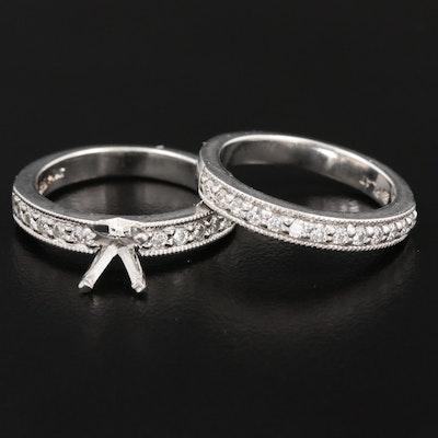 Platinum Diamond Semi-Mount Ring Set