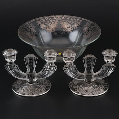 Silver Overlaid Glass Candlesticks and Footed Serving Bowl, Early 20th Century