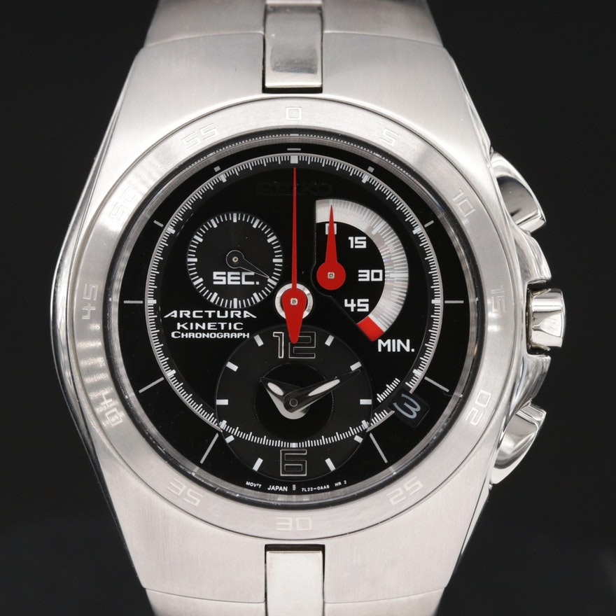 Seiko Arctura Kinetic Stainless Steel Chronograph Wristwatch