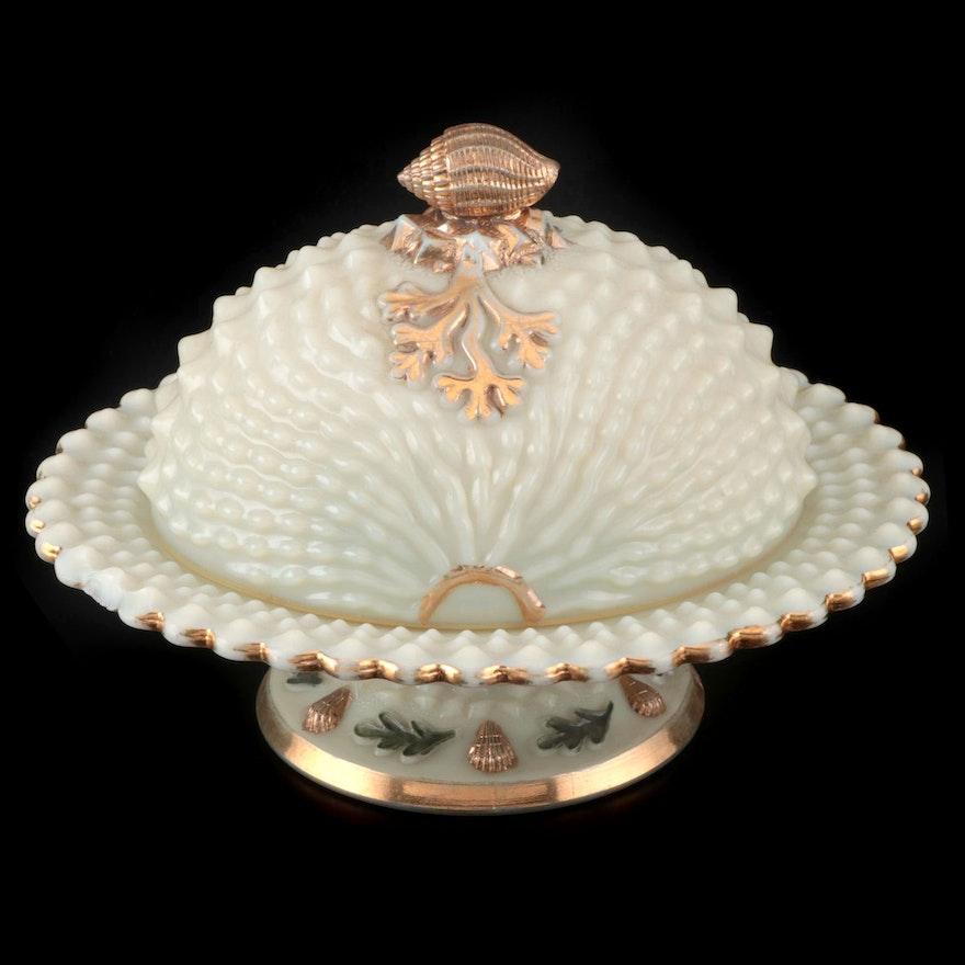 "Northwood Custard Glass ""Nautilus"" Lidded Butter Dish, Early 20th Century"