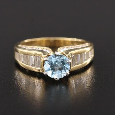 18K Aquamarine and 1.87 CTW Diamond Ring with Platinum Accent