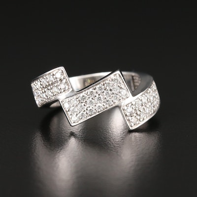14K White Gold Diamond Ring Featuring Step Design
