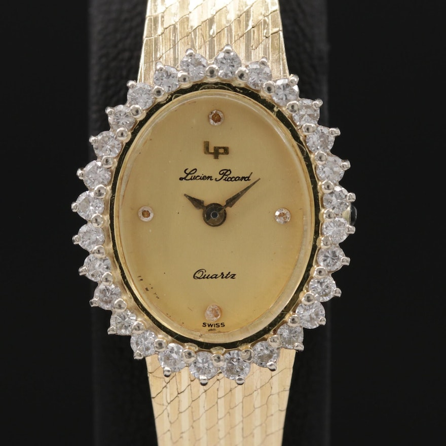 Lucien Piccard Diamond and 14K Gold Wristwatch