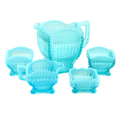 """Northwood """"Alaska Blue Glass Pitcher and Other Table Accessories, Late 19th C."""