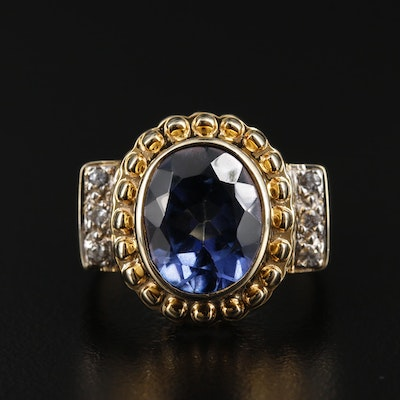 14K Yellow Gold Topaz and White Sapphire Ring