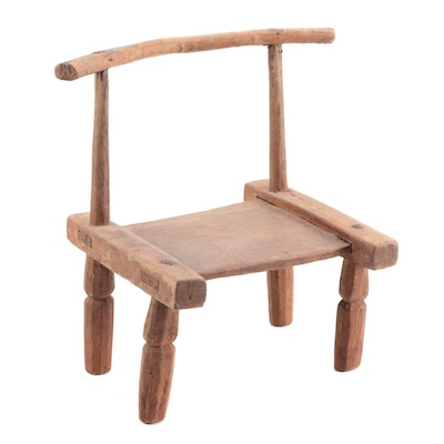 West African Style Wooden Low Chair