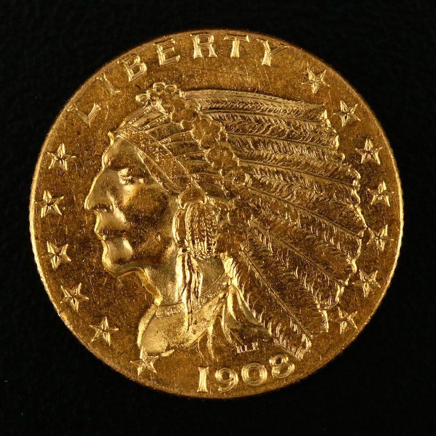 1908 Indian Head $2.50 Gold Quarter Eagle Coin