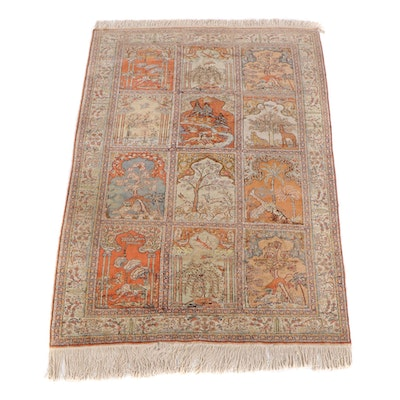 6'3 x 9'6 Hand-Knotted Indian Kashmir Pictorial Wool Rug