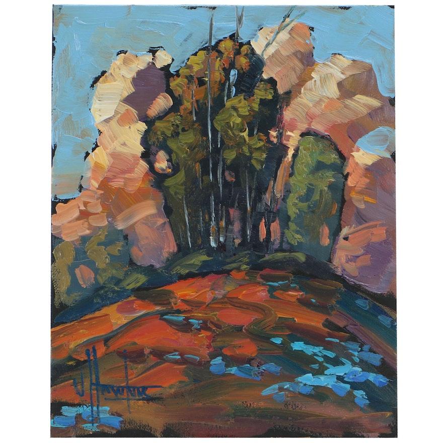 "William Hawkins Landscape Oil Painting ""Straight Shot"""