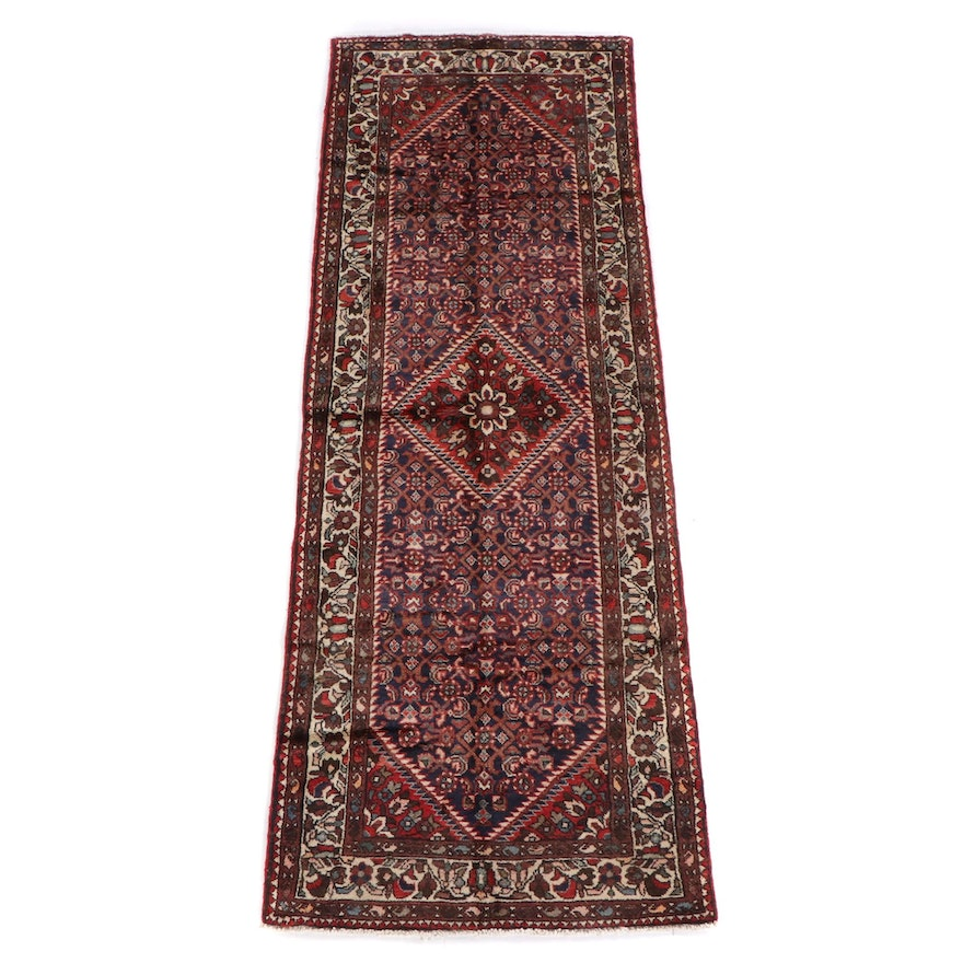 3'9 x 10'3 Hand-Knotted Persian Senneh Wool Long Rug