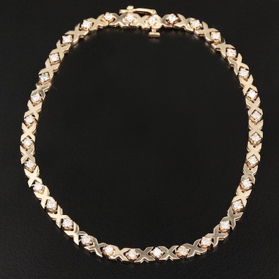 "14K Yellow Gold 0.96 CTW Diamond ""XO"" Link Bracelet"
